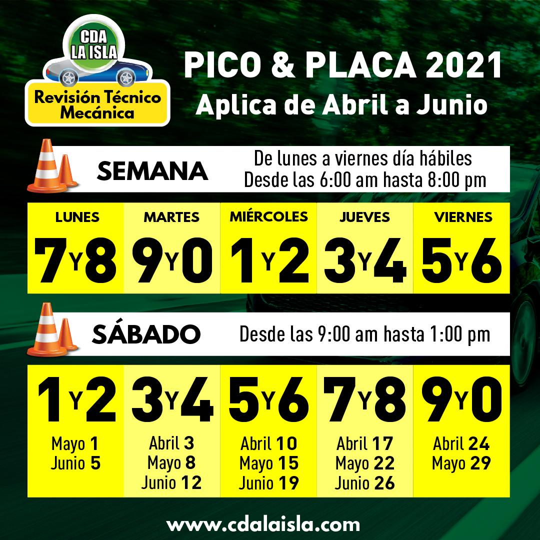 pico y placa bucaramanga abril a junio 2021